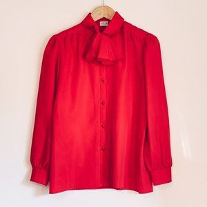 VINTAGE Terry Chicago Red Tie Neck Blouse